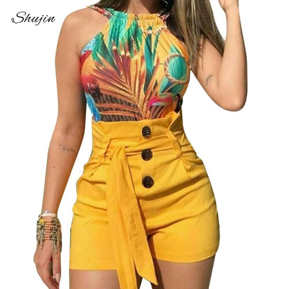 Shujin novo verão feminino sólido shorts sexy senhoras de cintura alta casual buttom bandagem praia shorts quentes das mulheres mais tamanho S-5XL