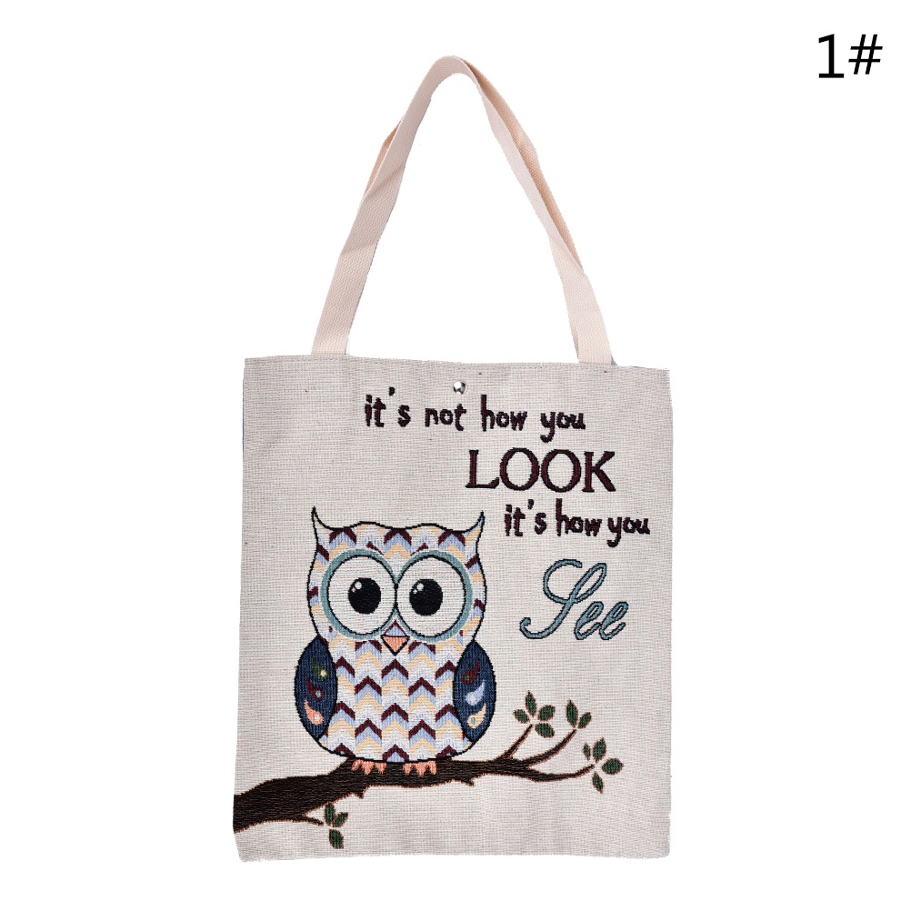 Owl Printed Canvas Tote Beach Bags Daily Use Canvas Handbags And Large Shopping Bag Floral