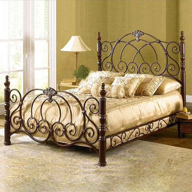 metal double item style frame bed iron european wrought single princess garden