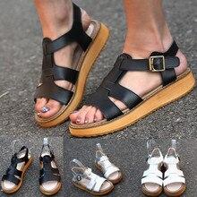 все цены на Sandal women Summer platform sandals Open Toe Buckle Strap Black Leather Shoes Vintage Roman Shoe sandalias de verano para mujer онлайн