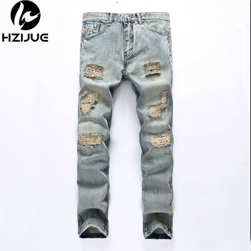 HZIJUE 2017 Spring Hip Hop New Fashion Lightweight Mens Jeans Casual ripped Hole Feet pants Long male Cotton Denim trouser