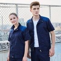 Summer Short Sleeve Men Women Coveralls,Mens Auto Repair Workshop Uniforms,Labour Protection Garage Work Clothes