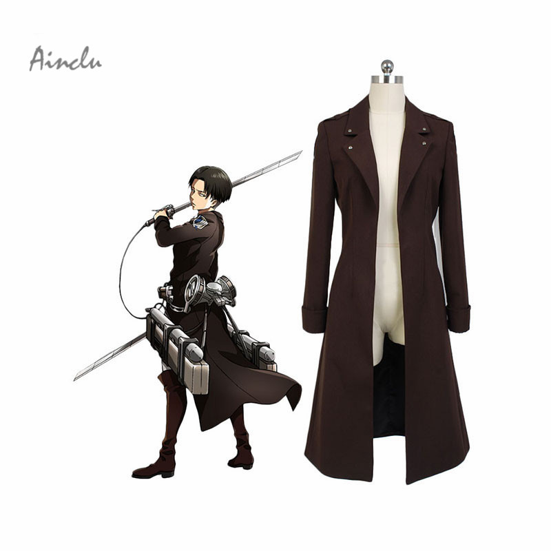 Ainclu Japanese AnimeAttack on Titan Cosplay Costume Shingeki No Kyojin Eren Jaeger Rivaille Long Coat  Halloween Costume