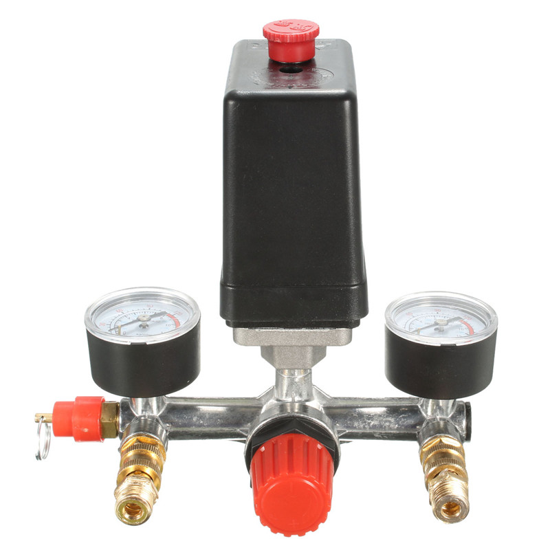 Non adjustable 125psi 2 Phase Compressor Pressure Switch Air Valve Gauge Control Relief 230V 1 port Popular air compressor pressure valve switch manifold relief regulator gauges 0 180psi 240v 45 75 80mm popular
