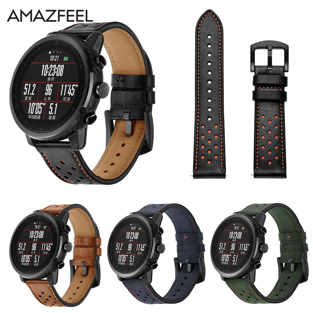 Watch Strap 22mm Amazfit 2 mi Huami Amazfit PACE Stratos Smart Watch Bracelet for Xiaomi Amazfit Band Strap Genuine Leather Belt