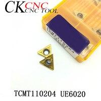 Aletler'ten Torna Takımı'de 10 adet TCMT110204 UE6020 TCMT21.51 karbür uçlar iç dönüm aracı TCMT 110204 torna aracı CNC kesici