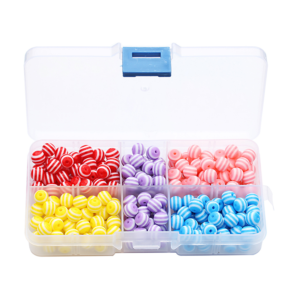 250PCs 8mm Candy Colors Resin Stripes Round Loose Beads DIY Components with Box 5 Colors Mixed