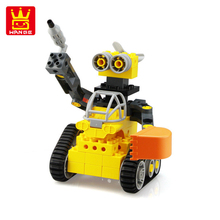 Wange Tracked robot assembled blocks  DIY building Educational toys for childrens gift