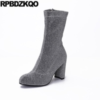 Blue Metallic Shoes Bling Gray Brand Chunky Stretch Fall Glitter Slim High Heel Sequin Women Ankle
