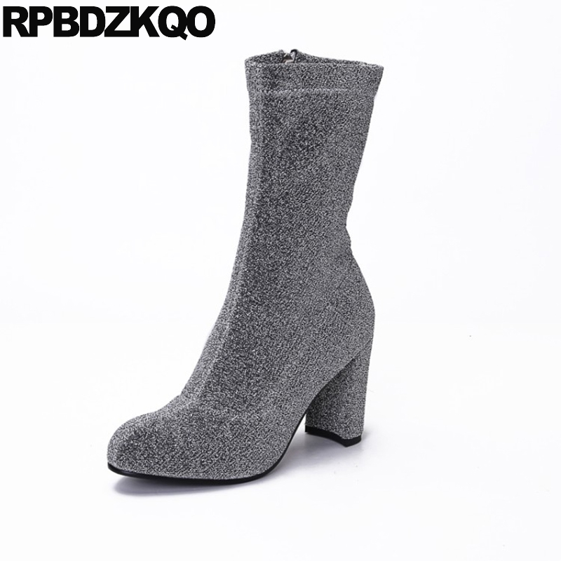 Blue Metallic Shoes Bling Gray Brand Chunky Stretch Fall Glitter Slim High Heel Sequin Women Ankle Boots 2016 Round Toe Designer игрушка ecx ruckus gray blue ecx00013t1