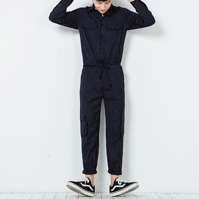 Men Stripe Jumpsuits Long Sleeve Overalls Mens Fashion Casual Bib Harem Pants Streetwear Male Trousers Jumpsuits K169