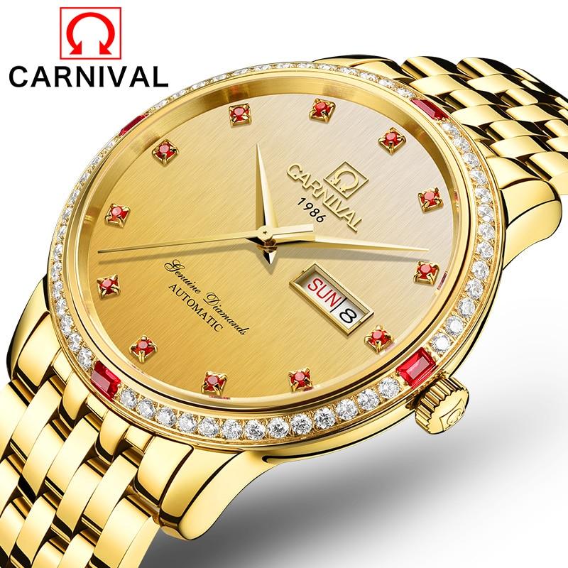 2017 CARNIVAL Business Mechanical Watches 30m Waterproof Stainless Steel Band Sapphire Crystal Wristwatches Men New Luxury Watch платья marrushka платье барышня