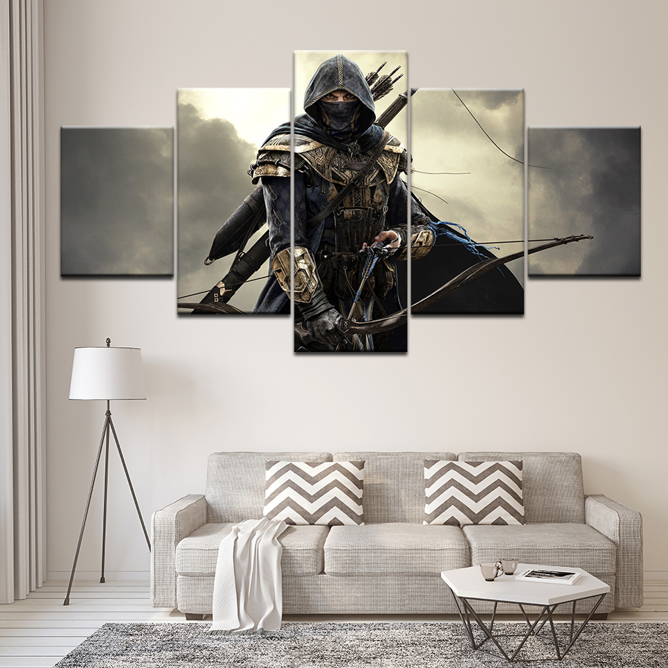 Frame 5 Piece HD Print Large Elder Scrolls Game Painting Canvas Wall Art Picture Home Decoration Living Room Canvas Painting image