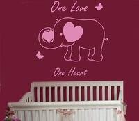 Wall Decal One Love One Heart Quote Elephant Vinyl Sticker Nursery Decor 22inchx23inch