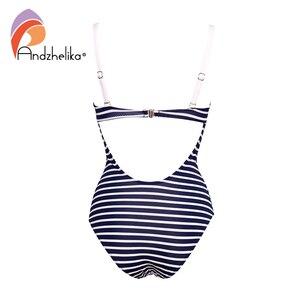 Image 3 - Andzhelika New Sexy Striped One Piece Swimsuit Women Bandeau Bathing Suit Summer Push Up Monokini Print Swim Suit Beach Wear Fem
