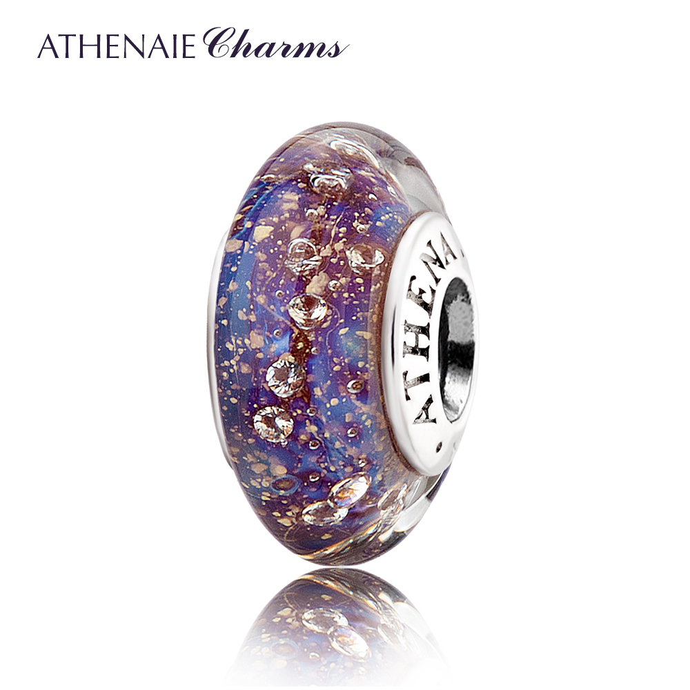 ATHENAIE Authentic 925 Sterling Silver Purple&Blue Clear CZ Murano Glass Beads Fit Original Charm Bracelet Christmas Jewelry