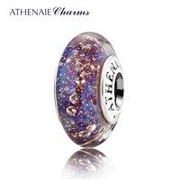 ATHENAIE Genuine Murano Glass 925 Silver Core Multi Clear CZ Charm Bead Fit All European Bracelets