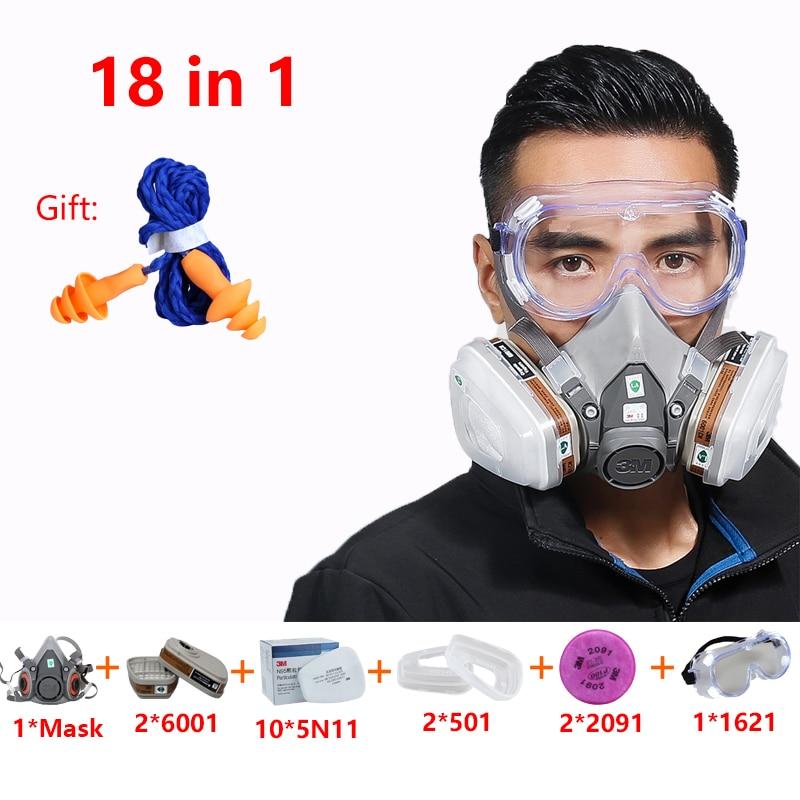 18 en 1 3M 6200 demi visage respirateur masque à gaz avec 6001 filtres PC lunettes peinture pulvérisation industrie sécurité chimique poussière masque