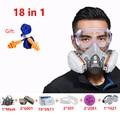 18 in 1 3M 6200 Mezza Viso Respiratore Maschera Antigas Con 6001 filtro 1621 Occhiali Pittura A Spruzzo di Sicurezza del Settore chemcial Maschera di Polvere