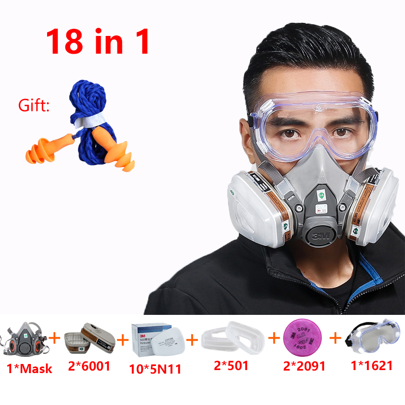 18 in 1 <font><b>3M</b></font> 6200 Half Face Respirator Gas Mask With <font><b>6001</b></font> Filters PC Goggles Painting Spraying Industry Safety Chemical Dust Mask image