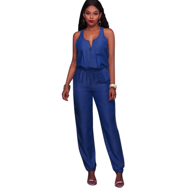 2e5d2bbcfe6 YJSFG HOUSE 2017 Summer Autumn Sleeveless Jeans Jumpsuit Women Off Shoulder  Overalls Bodysuit Female Elegant Denim Rompers Blue