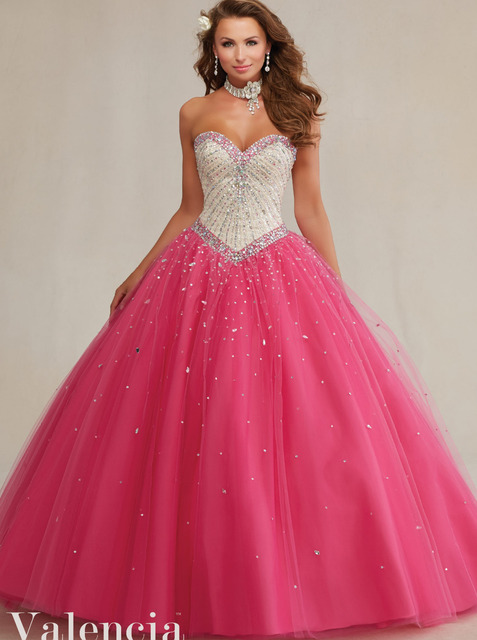 9402951ce11 Elegant Ruffle Tulle Ball Gown Nude Top Hot Pink Two Tones Quinceanera  Dresses with Crystal Bead Vestidos De Quinceaneras 89083