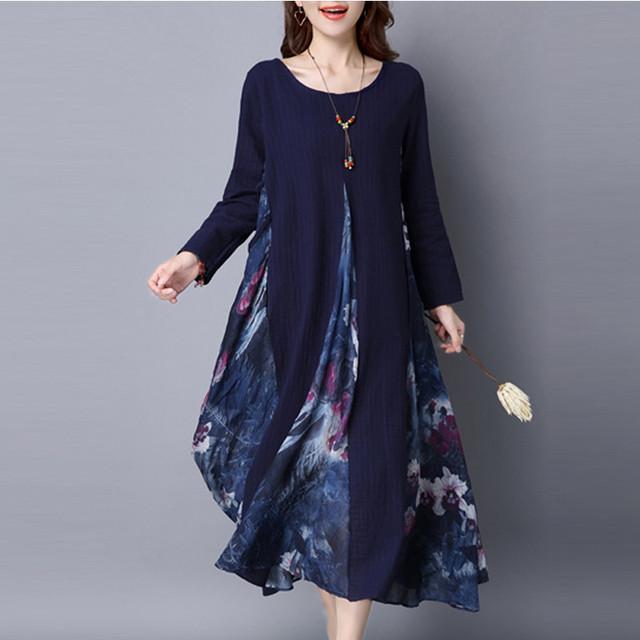 Más el tamaño 2017 de las mujeres de la vendimia casual imprimir loose dress ladies o cuello de manga larga de algodón de lino patchwork mitad de la pantorrilla vestidos vestidos