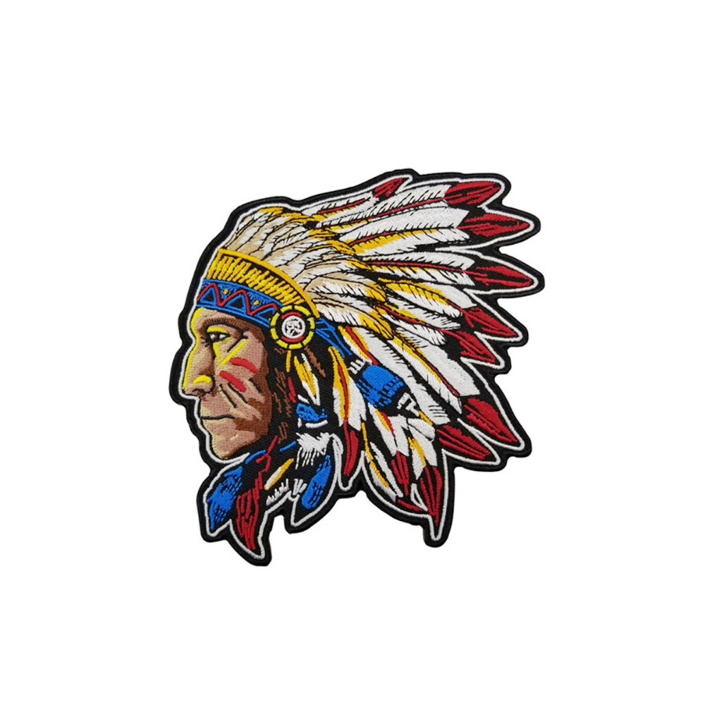 Indian Patch Motorcycle Custom Embroidered Jacket Patch Biker Rock Punk Clothes Stickers Apparel Accessories Badge Vest Iron On