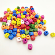 50pcs/lot 10MM DIY Letter Beads Wooden Loose for Jewelry Making Bracelet Necklace Accessories Wholesale