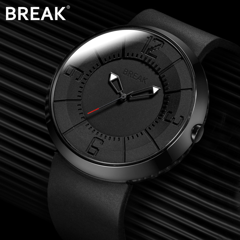 Break Top Heren Dames Unisex Mode Toevallig Sport Quartz Horloges Creatief Zwart Rubberen Band Horloges Waterbestendig voor Heren