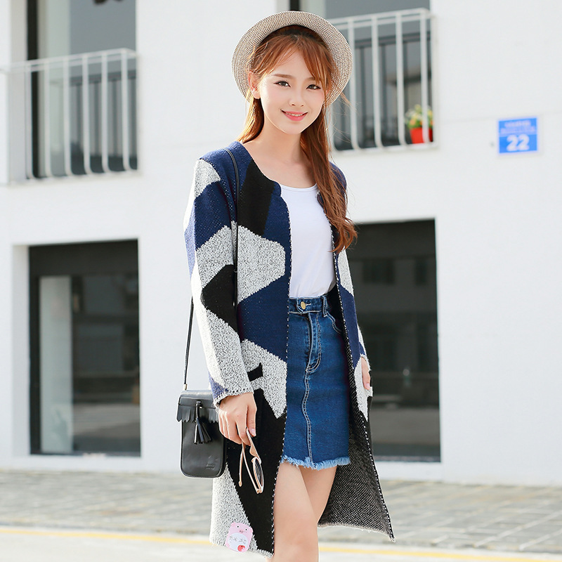 Blue Knitted Party Outerwear Coat Sweaters Flower Fashion Clothing Women Sweater Charm New Female S1032 Ladies Beautiful Cardigans wz0HnqaxPn