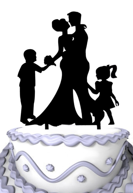 Wedding Cake Decoration, Groom and Bride With Two Kids Silhouette ...