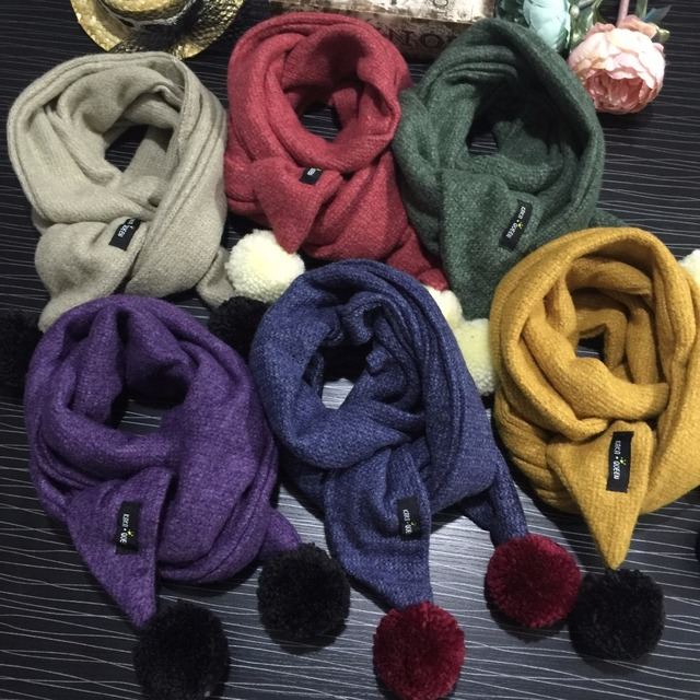 f4b39612cd6 Cute Ponpon Ball Snud for a Boy Solid Warm Children's Scarf Korean Knitted  Scarfs for Girls Children's Snore Kids Winter Scarves-in Scarves from ...