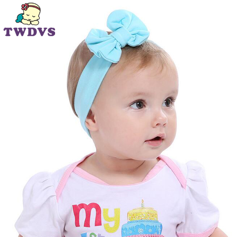 1PC TWDVS Flower Headwear Girls Bows Hairband Kids Headband Stretch Turban Knot Head Wrap Hair Bands Hair Accessories KT017 1 pcs lot women crystal beads hairband awaytr new black side flower hair band headband for girls 2017 korean style headwear