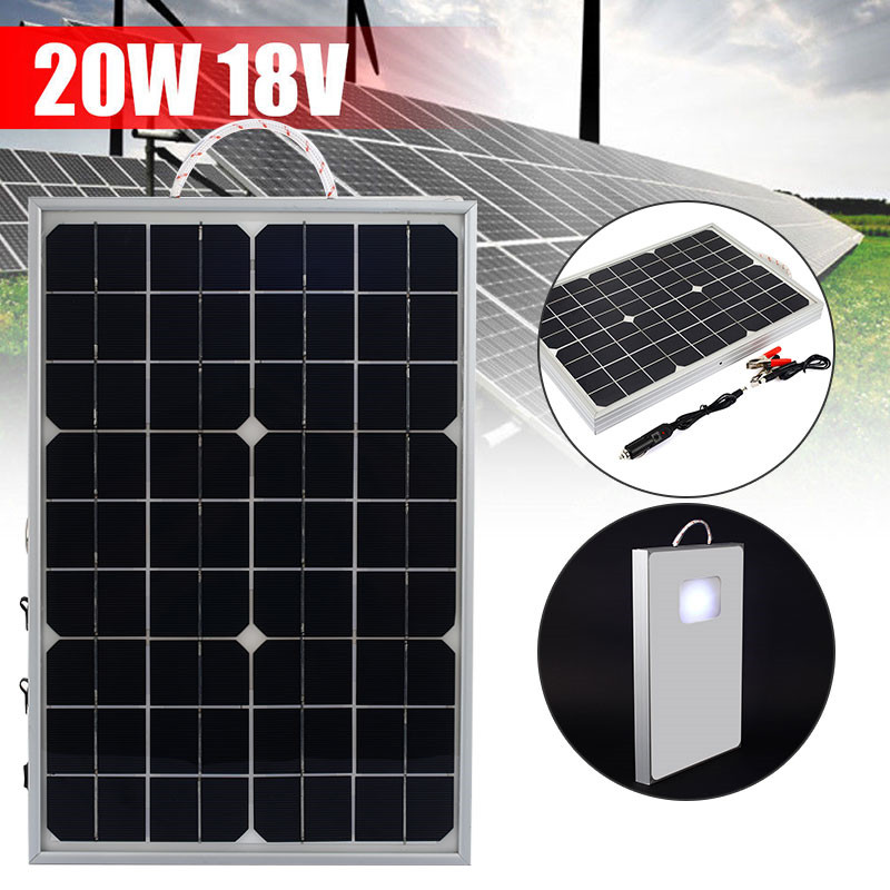 Outdoor Solar Panel 20W 18V Portable Solar Cell USB+DC Port Solar Panels Power Charger Emergency Power Supply Solar GeneratorOutdoor Solar Panel 20W 18V Portable Solar Cell USB+DC Port Solar Panels Power Charger Emergency Power Supply Solar Generator