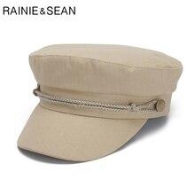 88b21d7b RAINIE SEAN Beige Military Hat Women Cotton Newsboy Hat Spring Summer Baker  Boy Hat Solid Vintage