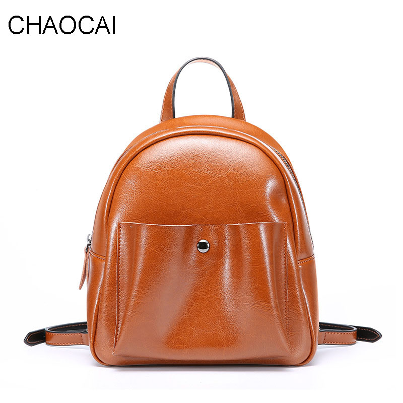 fashion women backpack genuine leather shoulder bag cowhide leather back pack for teenagers