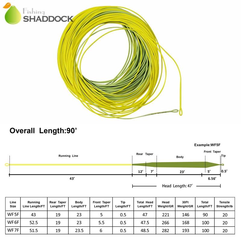 Shaddock Vissen 100FT 30.5m Drijvende Vliegvissen Lijn Goud WF-5F / - Visvangst