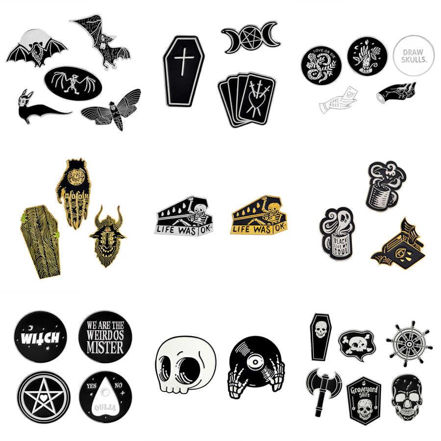 1-6 pçs/set Coleção Broche Pinos Esmalte Bat Bruxa Esqueleto Do Crânio Do Punk Escuro Jóias Caixão Botão Pin Emblema Do Metal Presente do Dia Das Bruxas
