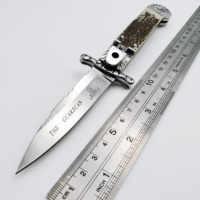 Italienische Mafia Folding messer D2 Klinge Nachahmung Geweih Griff Tasche Messer Armee Camping Überleben Tactical Schnell Öffnen EDC Werkzeuge