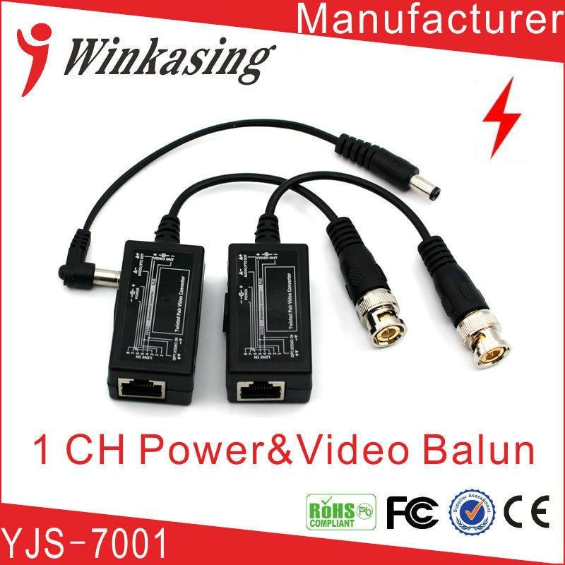 1Pair CCTV camera video balun bnc to rj45 with power 8pairs bnc to tj45 power video balun