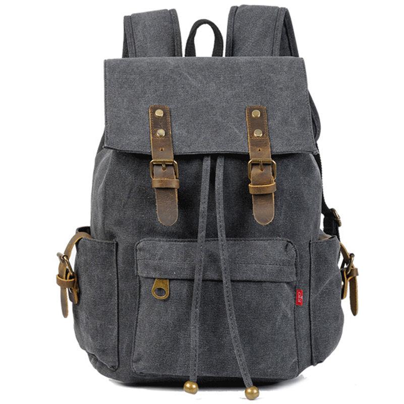 ФОТО Preppy Style Men's Drawstring Backpack School Bag High Quality Canvas Backpacks Women Men Rucksack  Large Capacity Should Bags