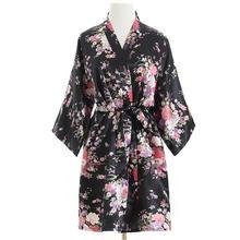 Для женщин пикантные шелковые атласные невесты свадебное платье элегантное платье Цветочный принт ночное короткий халат-кимоно высокое качество платье пижамы