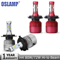 Oslamp H4 LED Car Headlight Bulb 72W 8000lm/80W 9600lm 6500K CREE Chips High Low Beam Auto Led Headlamp DRL Fog Light DC12v 24v