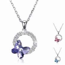 WARM COLORS Crystal From Swarovsk Women Necklace Fine Jewelry Inlaid Zircon  Round Circles Butterfly Pendant Necklace Collares 08142b8d255b