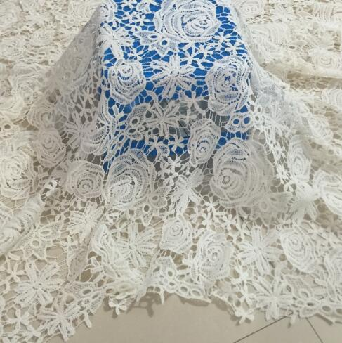 5Yards High Quality African Cord Lace Fabric White Flower Rose Broderie Guipure Cupion Lace Sewing Supplies