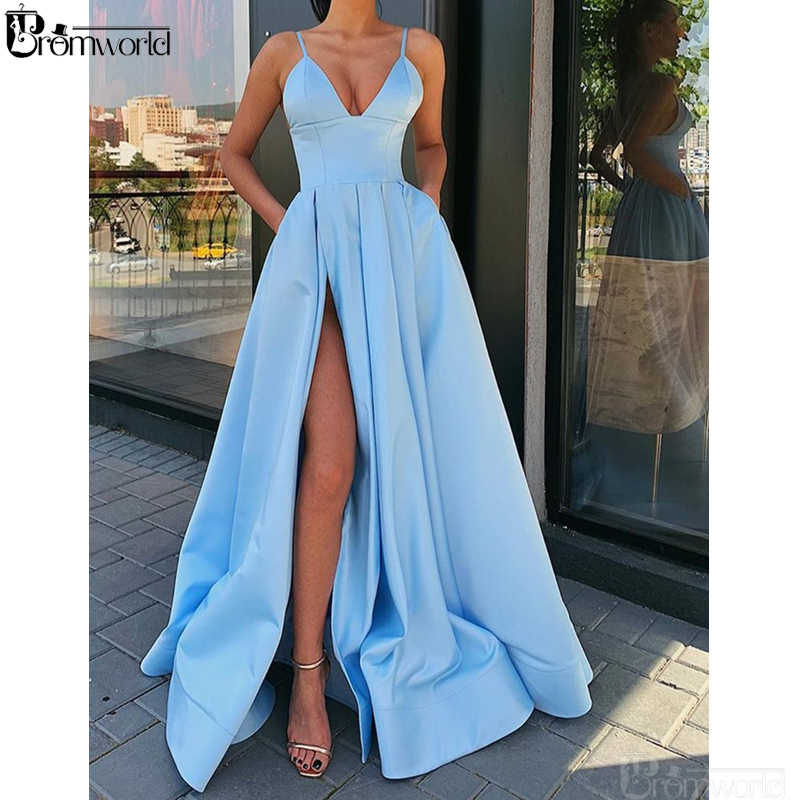 Sky Blue A Line Long Evening Gown With Leg Slit Spaghetti Strap V Neck High Slit Orange Formal Evening Dresses 2020 Abendkleider Evening Dresses Aliexpress