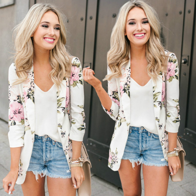 2019 Spring Autumn Floral Print Fashion Blazer Jacket Women Suit Work OL Thin Suit Blazer Long Sleeve Mujer Blazer Outerwear