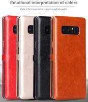 Marka Lenuo Lebei Serii Delikatne Slim ARC Wyzna PU Skórzane Etui dla Samsung Galaxy Note 8/Note8 Klapki Z Kartą kieszeń