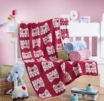 Cotton baby owl blanket,size 90 x 110cm thread blanket,100% cotton baby knitted blanket on bed,4 color travel blanket airplane
